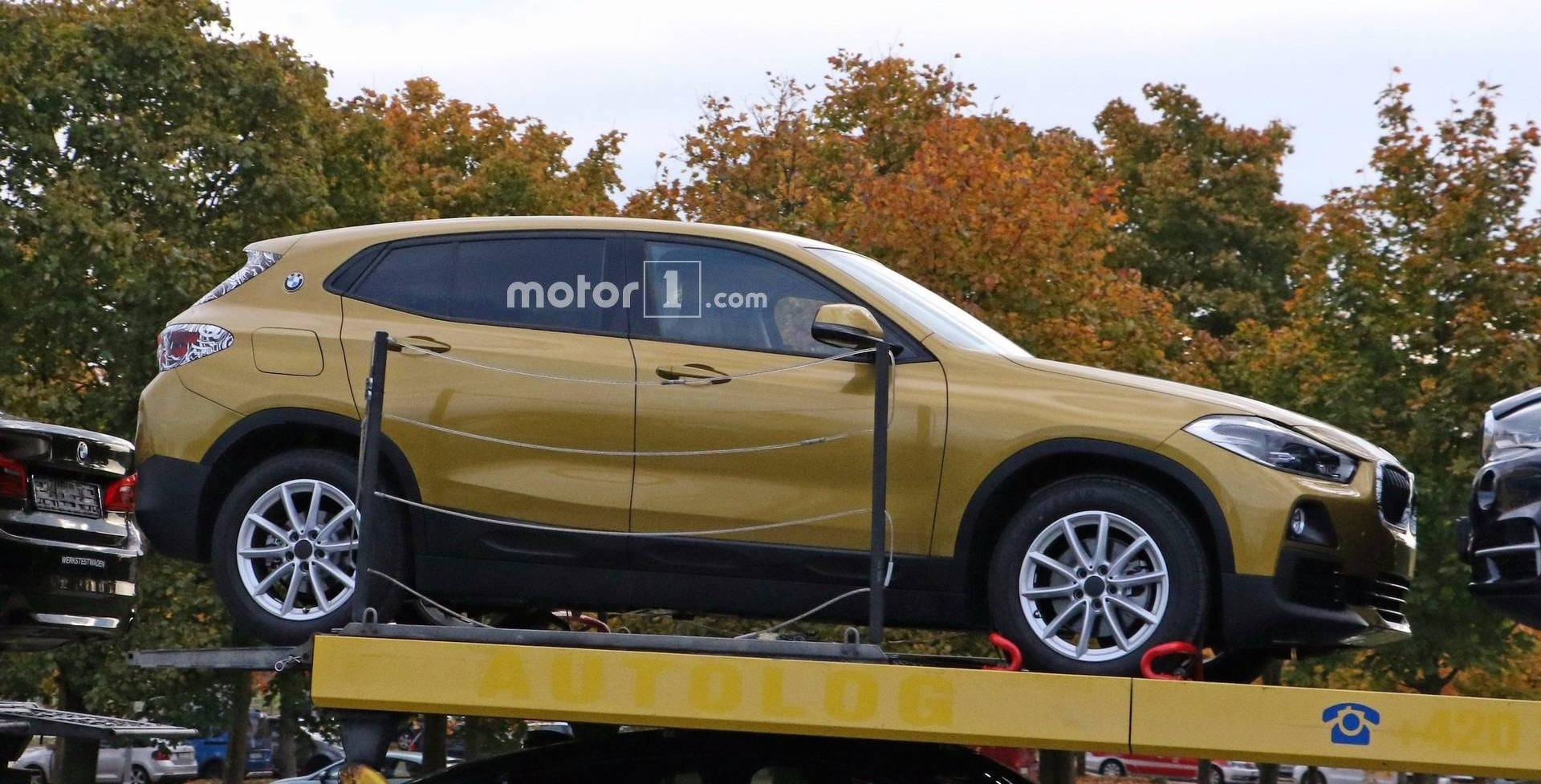 BMW X2 spied in gleaming lime gold paint