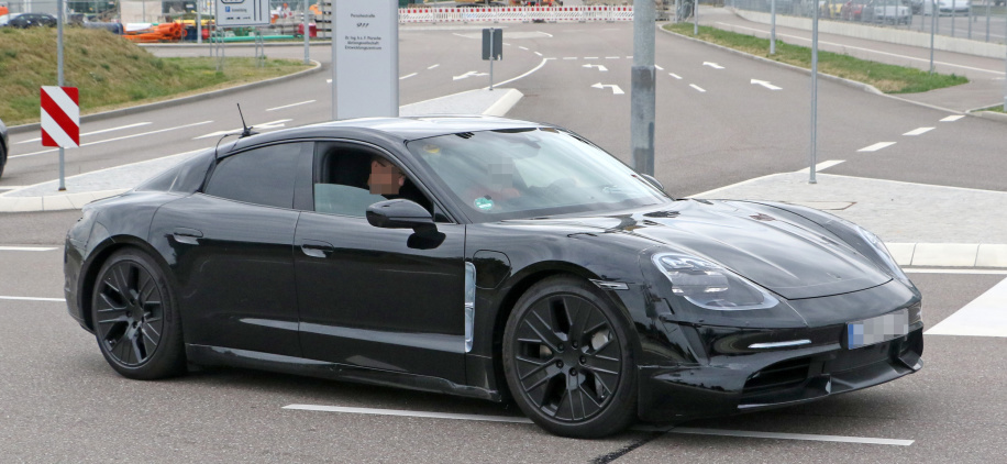 Porsche Taycan spied with less camo as it edges closer to production