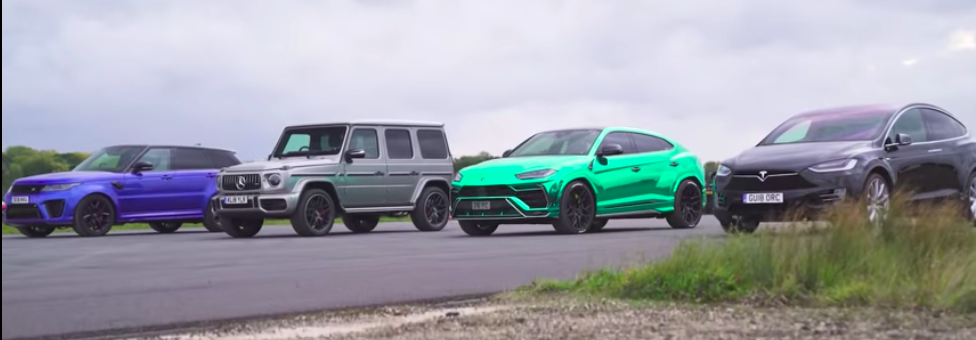 Watch Tesla Model X Race Lambo Urus, AMG G63, Range Rover SVR