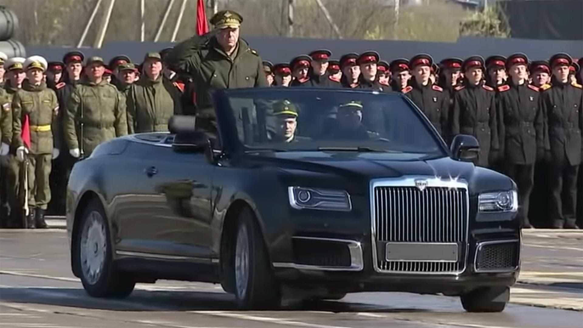 Russia's Stately Aurus Convertible Loses Camo For Military Parade