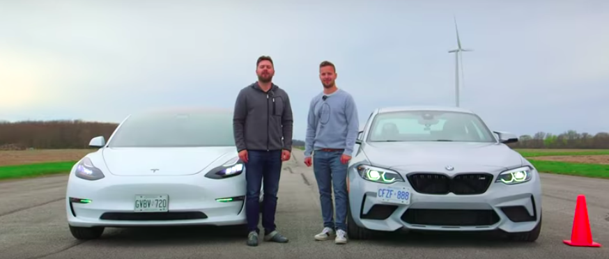 Watch A BMW M2 Competition Drag Race A Tesla Model 3