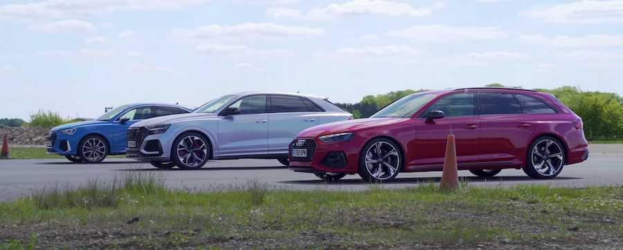 Watch Audi RS Q3 Face More Powerful RS4, RS Q8 In A Drag Race
