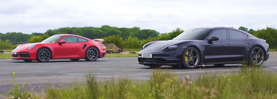 Porsche 911 Drag Races Taycan In Turbo S Duel