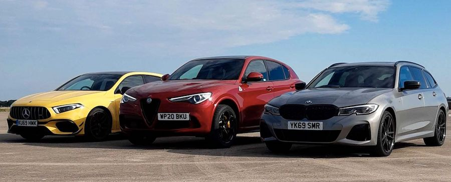 BMW M340i, AMG A45, And Alfa Stelvio Compete In Wagon, Hatch, SUV Duel